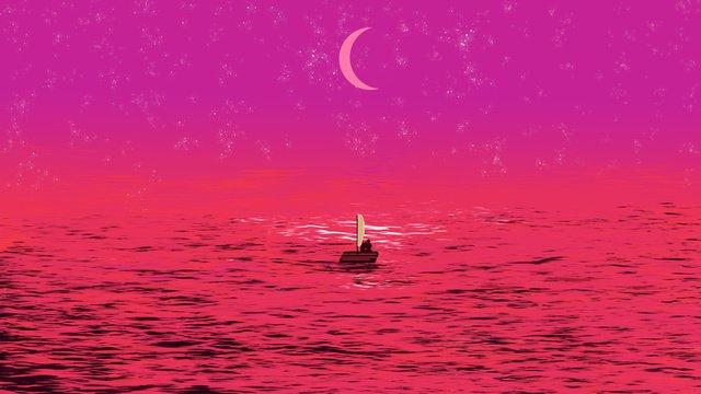 海上昇明月—戀人原創插畫 插畫素材