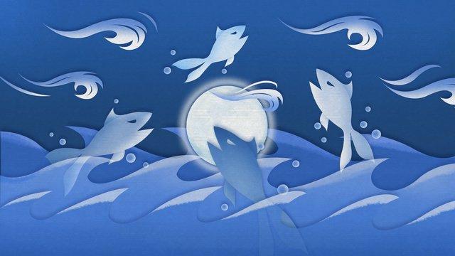 paper cut wind illustration lua do mar mergulho Material de ilustração