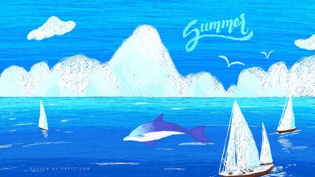 Original illustration trend coil wind ocean llustration image