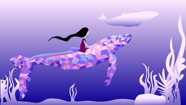 Sea blue see whale girl small fresh illustration, Sea, Whale, Cure illustration image