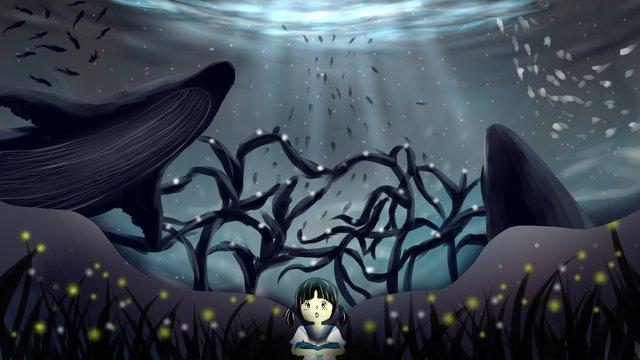 書中鯨魚海洋插畫 插畫素材