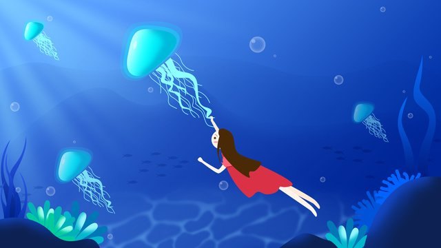 Underwater world jellyfish girl healing system illustration, Seabed, Jellyfish, Girl illustration image