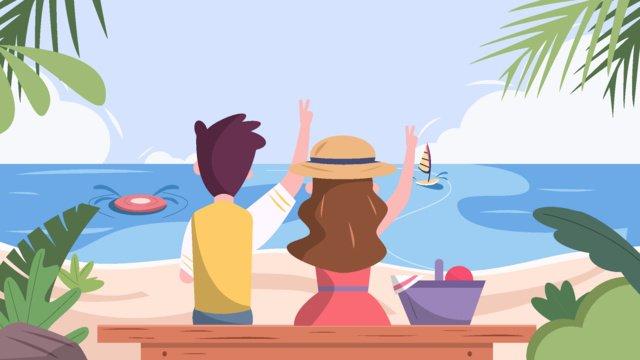 شاطئ البحر منتجع استوائي زوجين رحلة ركوب الأمواج صورة llustration صورة التوضيح