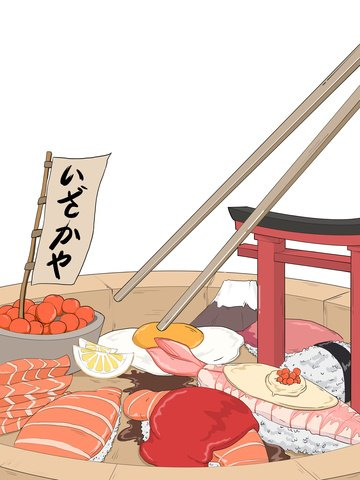 Second yuan comics japanese cuisine sushi gourmet original illustration, Secondary Element, Comic Style, Sushi illustration image