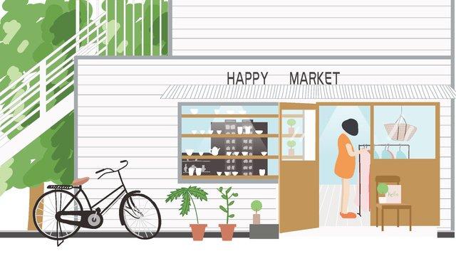 따뜻한 가게 삽화 소재 삽화 이미지