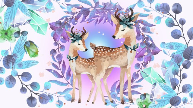 originally drawn small animals of sika deer fawn mother and child llustration image