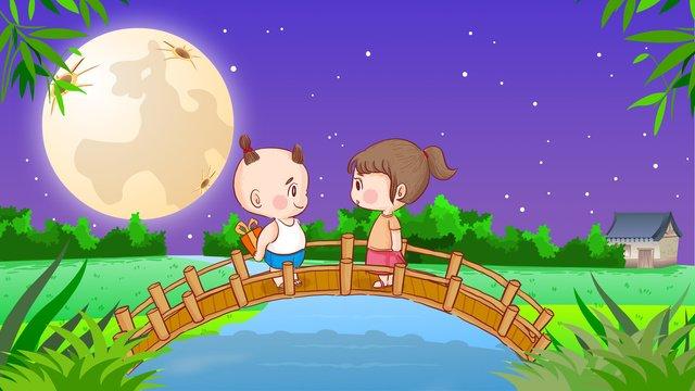 バレンタインの月光少年少女ギフトギフトを与えるオリジナルのイラスト イラストレーション画像