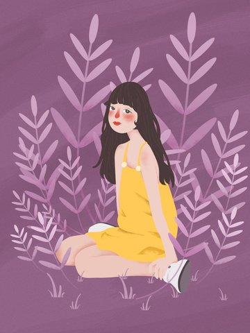 Simple flat wind yellow dress little girl illustration illustration image