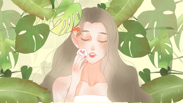 Simple fresh green plants and makeup for girls, Simple, Fresh, Green Plant illustration image