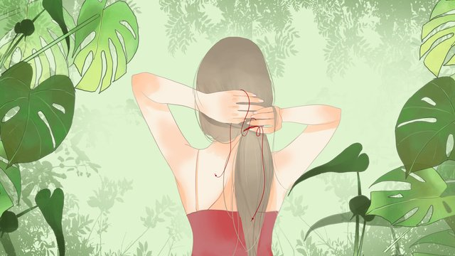 Simple fresh green plants and girls with back hair, Simple, Fresh, Green Plant illustration image