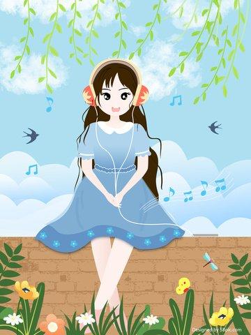 Simple fresh and lovely listening to the girls original illustration poster design, Simple, Fresh, Lovely illustration image