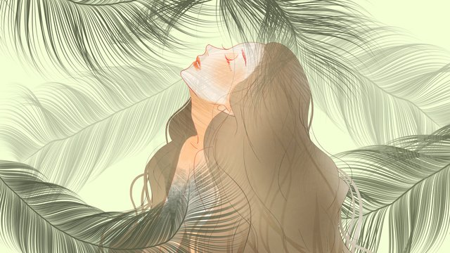 Simple and fresh green plants long hair girls, Simple, Green Plant, Plant illustration image