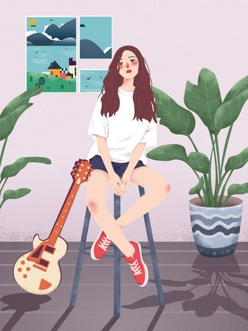 simple pink literary guitar girl original illustration llustration image