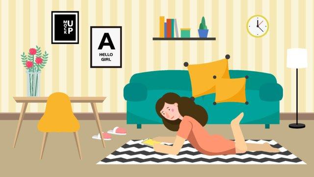single daily living alone girl warm home apartment flat original illustration llustration image illustration image
