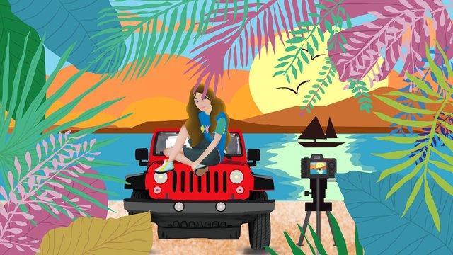 single girl summer outing original illustration llustration image illustration image