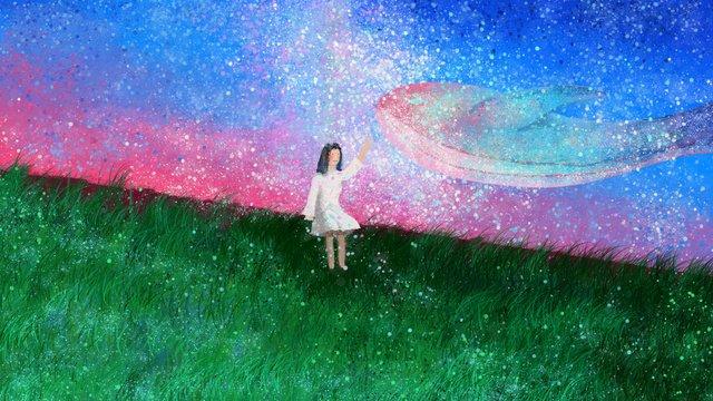 Sleepwalking wonderland whale girl healing original illustration, Sleepwalking, Galaxy, Xinghai illustration image