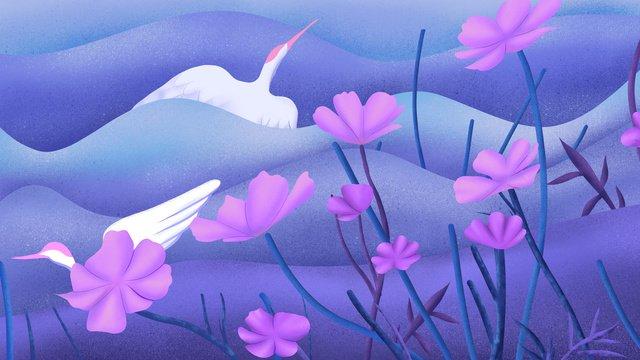 dreamwalking wonderland 바람이 부는 산에서 날아 다니는 크레인의 전설 치유 그림 이미지 일러스트레이션 이미지
