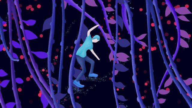 sleeping wonderland good night hello vine man plant jumping boy illustration llustration image illustration image