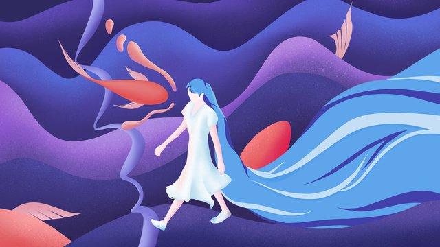 sleeping wonderland healing wind long hair girl walking in flying fish llustration image illustration image