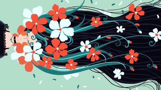 छोटे ताजा और सुंदर परी की कहानी लंबे बालों वाली लड़की फूल सोती है चित्रण छवि चित्रण छवि