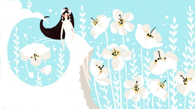 Small fresh and beautiful light blue dream fairy wind flower girl wedding dress, Small Fresh, Beautiful, Light Blue illustration image