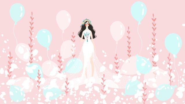 pequeno fresco e bonito casório noiva menina rosa balloon Material de ilustração