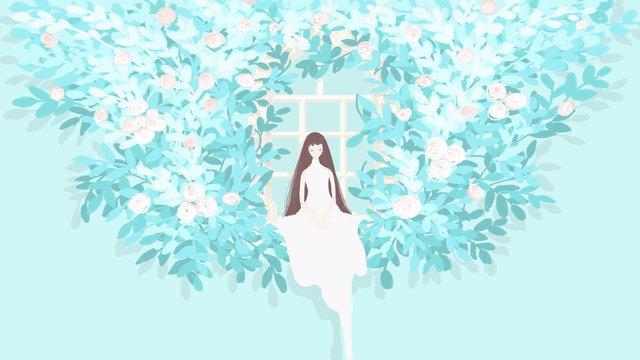 원래 소녀와 그녀의 정원 시리즈 3 장미 삽화 소재 삽화 이미지