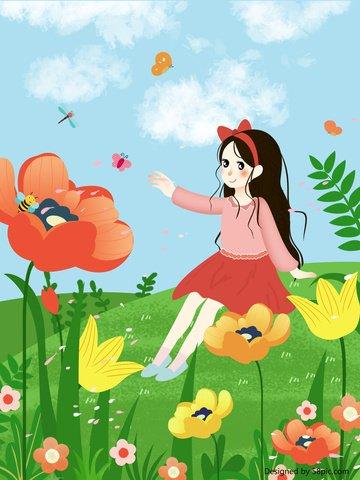 小さく新鮮で美しいロマンチックな春の花オリジナルイラストポスターデザイン イラスト素材 イラスト画像