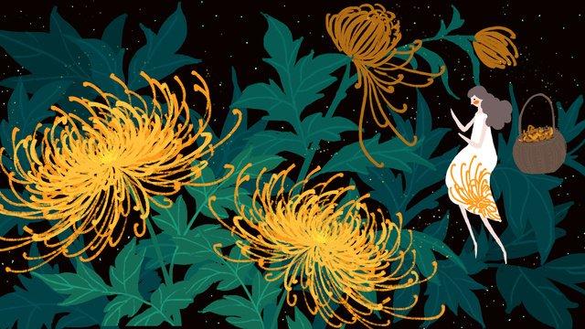 small fresh autumn fall flower chrysanthemum girl llustration image illustration image