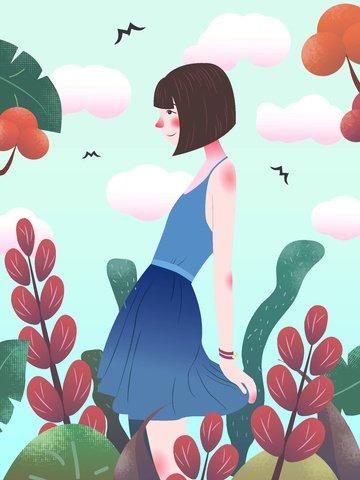 little fresh blue dress girl original illustration llustration image