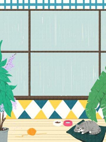 オリジナル雨の日の猫ちゃんのイラスト イラスト素材