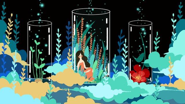 Little fresh cure girl in dreamy fairy tale bottle, Small Fresh, Cure, Dream illustration image