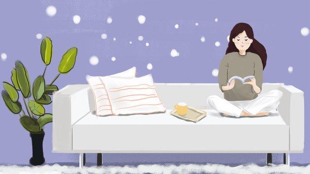 원래 그림을 읽고 작은 신선한 소녀 소파 삽화 소재