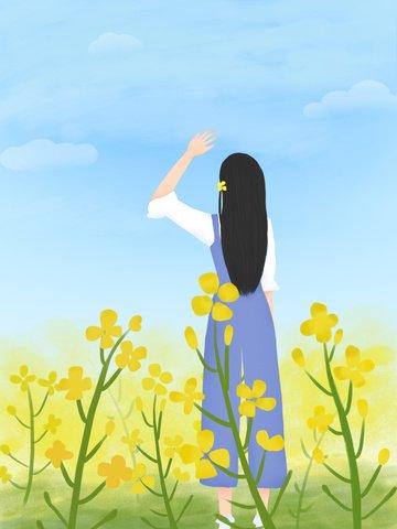 original small fresh landscape illustration spring blossoms illustration image