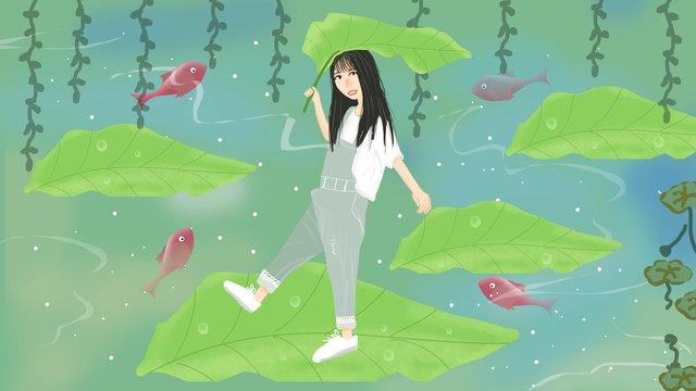 Small fresh illustration summer girl holding big leaves to cool llustration image