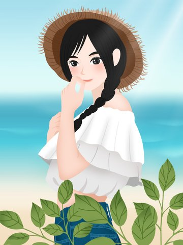 新鮮な海辺の文学の女の子のイラスト イラスト素材