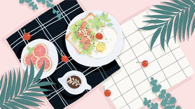 オリジナルins風手描き朝食イラスト イラストレーション画像 イラスト画像