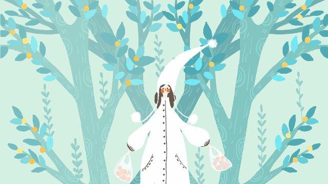 小さな新鮮なライトグリーンのかわいい森の少女小さい新鮮な  ライトグリーン  可愛い PNGおよびPSD illustration image