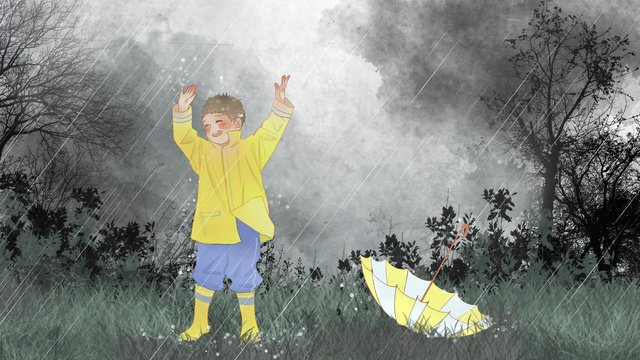 Little fresh summer rainy day playing with children on the grass llustration image illustration image