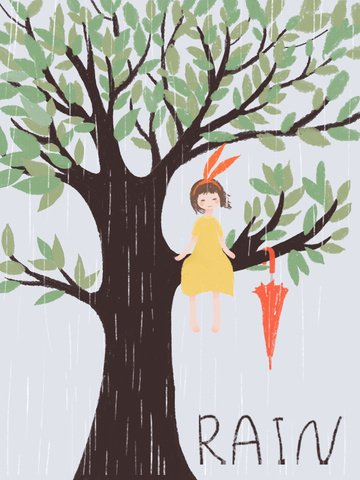 Original hand painted wind small fresh rainy day illustration llustration image