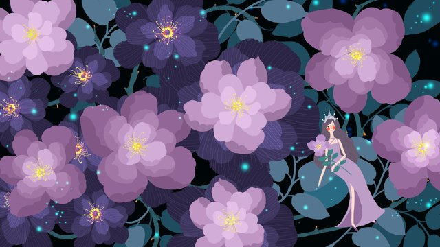 Small fresh and simple beautiful romantic fairy wind purple flower sea girl night, Small Fresh, Simple, Beautiful illustration image