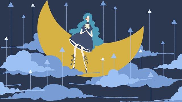 original small fresh simple fairy tale wind moon cloud girl good night llustration image illustration image