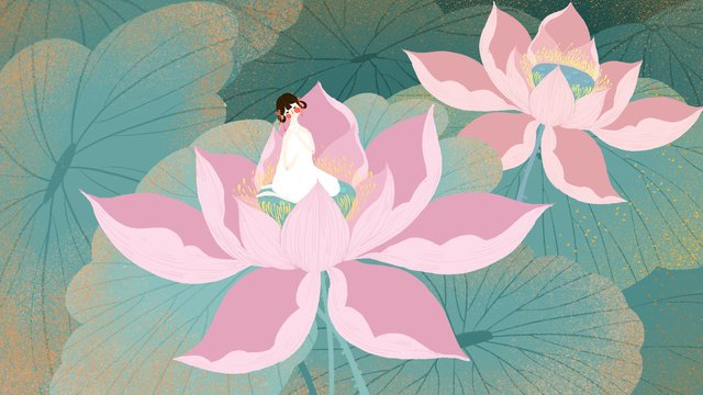 Small fresh and simple lotus girl summer leaf, Small Fresh, Simple, Girl illustration image