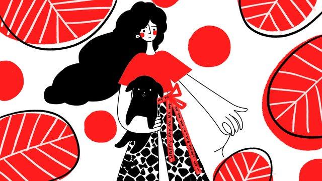 simple red big color block funny wind curious girl holding dog llustration image illustration image