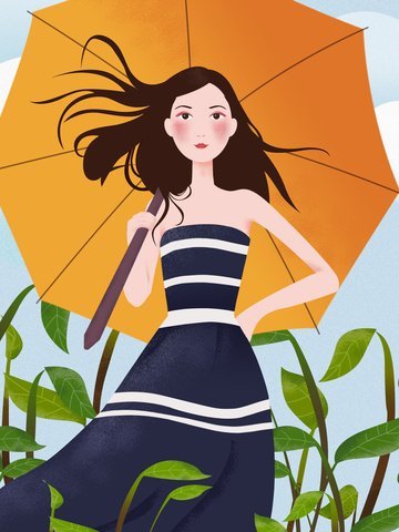 Small fresh and simple literary style umbrella girl original illustration, Small Fresh, Simple, Literary Style illustration image