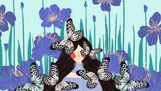 छोटे ताजा नीले सुंदर परी कथा तितली लड़की फूल चित्रण छवि