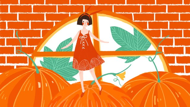 Original small fresh simple pumpkin girl, Small Fresh, Simple, Pumpkin illustration image