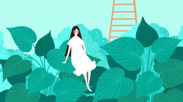 Simple small fresh green summer girl, Small Fresh, Simple, Summer illustration image