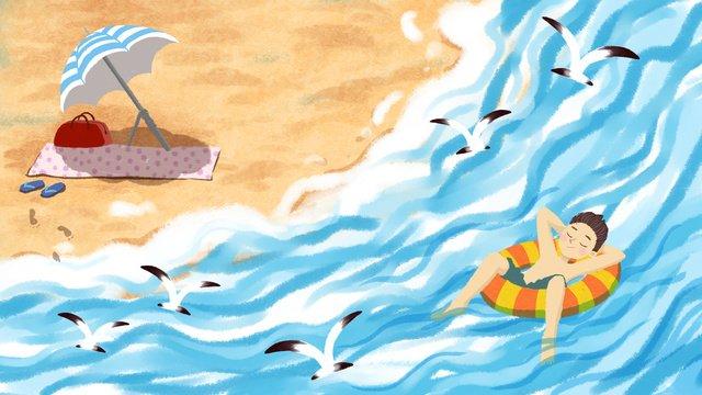 Small fresh illustration summer seaside, Small Fresh, Summer, Seaside illustration image