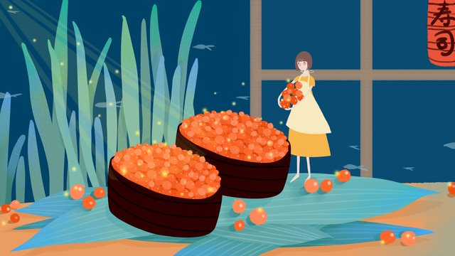 Original small fresh and delicious sushi, Small Fresh, Sushi, Daily Material illustration image